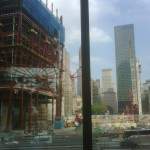 New construction on the left and the spot where the North Tower stood on the right.