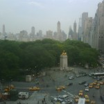 View over Columbus Circle across Central Park and toward Fifth Avenue.