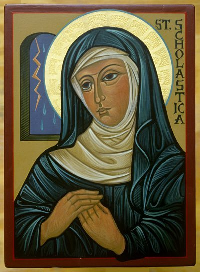 St.-Scholastica-Icon-by-SrMCM-5x4
